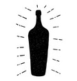 hand-drawn texture wine bottle icon isolated on vector image