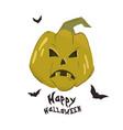 happy halloween banner with pumpkins vector image vector image