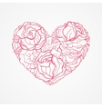 Heart of flowers roses vector image vector image