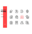 internet concept - line design style icons set vector image