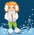 little girl on the winter background vector image vector image