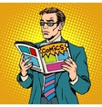 man reads comic book vector image vector image