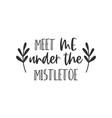 meet me under mistletoe hand written lettering vector image