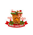 merry christmas fireplace chimney icon vector image vector image