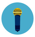 microphone icon on round blue background vector image