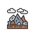 mountains and rocks landscape flat color line icon vector image vector image