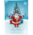 santa claus with christmas tree merry christmas vector image vector image