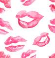 Seamless pattern with a lipstick kiss prints