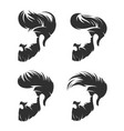 set mens hairstyle with beard mustache vector image vector image