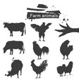 silhouette farm animal icon vector image vector image