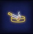 smoking cigarette on ashtray neon sign