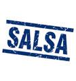 square grunge blue salsa stamp vector image vector image