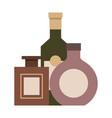 three bottles drinks liquor isolated design vector image