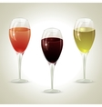 three glasses of wine vector image vector image