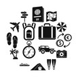 travel icons set simple style vector image