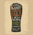 typography poster beer glass on brown old paper vector image vector image