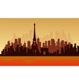View of big city france silhouette vector image vector image