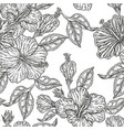 vintage hibiscus flowers seamless pattern vector image vector image
