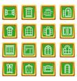 window design icons set green square vector image