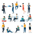 young men and women with smartphones vector image