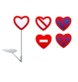 Heart shape road signs - prohibition signs vector image