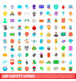 100 safety icons set cartoon style vector image vector image