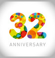 32 years anniversary circle colorful logo vector image