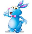 A blue bunny waving vector image vector image