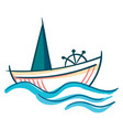a sailing boat with ship wheel or color vector image vector image