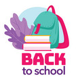 back to school satchel with books and decorative vector image