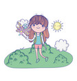 beautiful girl with butterfly in landscape vector image vector image
