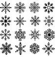 Black Snowflakes Silhouette set vector image vector image