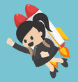 business woman flying off with jet pack vector image