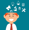 businessman character thinkin icon vector image