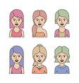 caricature half body women with differents vector image