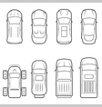 Cars icon set in thin line style top view vector image