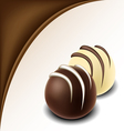Chocolate text frame with chocolate bonbon vector image vector image