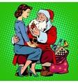 Christmas gift Santa Claus and a beautiful girl vector image vector image