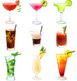 Cocktail realistic set vector image vector image