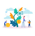 concept of income growth young people collect vector image