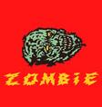 creepy green zombie head vector image vector image