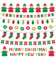cute cartoon elves and christmas decoration vector image
