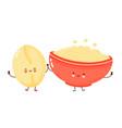 cute happy bowl oatmeal porridge and oat grain vector image vector image