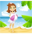 Cute little girl at the sunny beach vector image