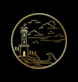 design lighthouse golden color vector image