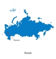 Detailed map of Russia and capital city Moscow vector image