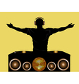 DJ and record decks with speakers vector image vector image