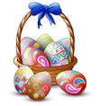 easter colorful eggs with basket isolated on white vector image