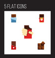 flat icon sweet set of cocoa bitter shaped box vector image vector image