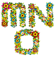 flower and bush letters 05 vector image vector image